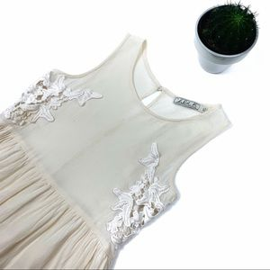 Chloe K Ivory Embroidered Sleeveless Mini Dress